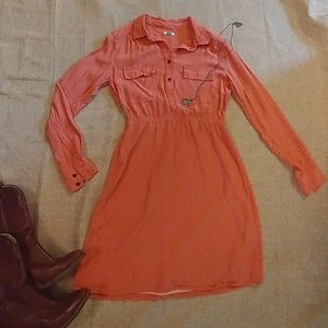 Coral Long Sleeved Fossil Dress